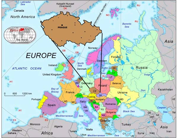 Prague World Map Timekeeperwatches: Map Of Europe Showing Prague At Infoasik.co